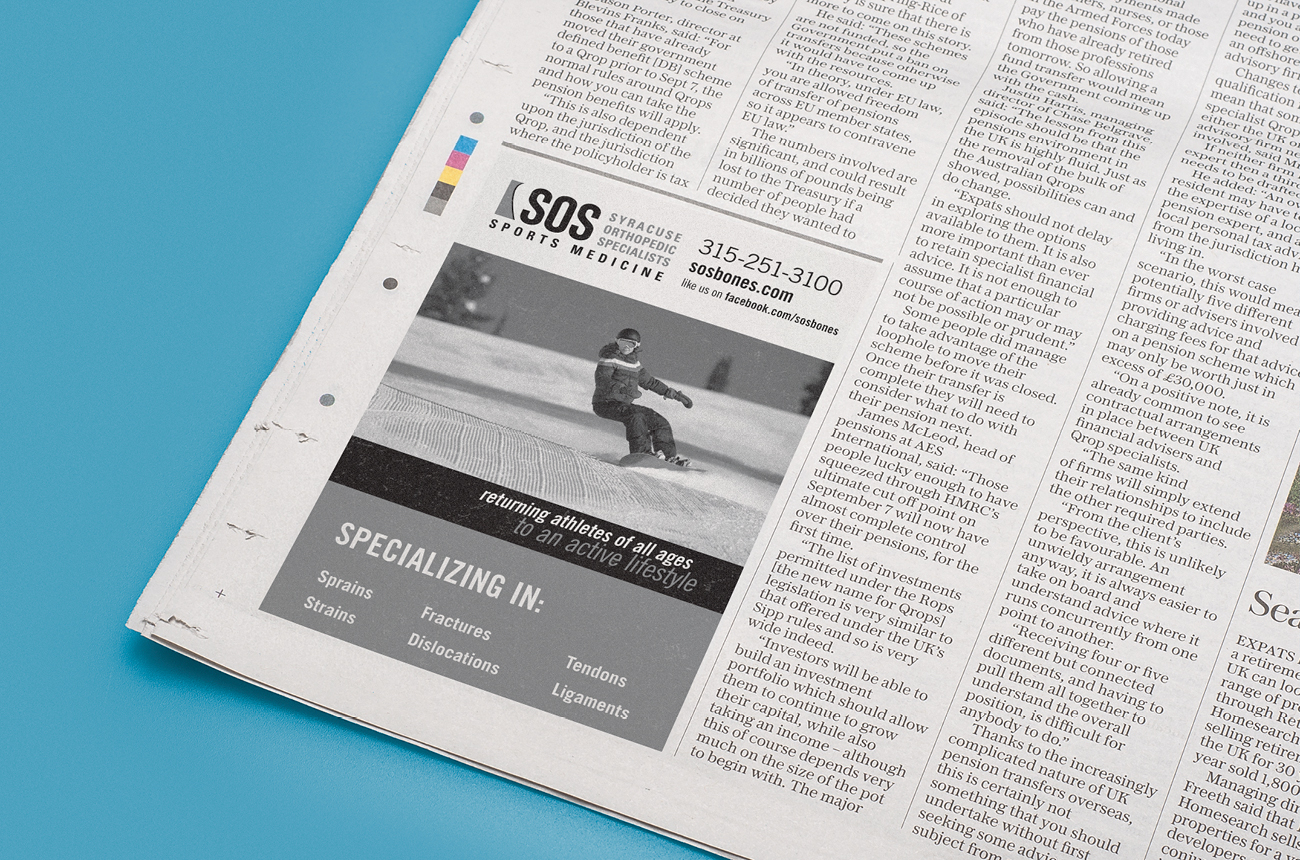 SOS Brand Identity Portfolio Syracuse Design Firm Stressdesign Newspaper Advertising